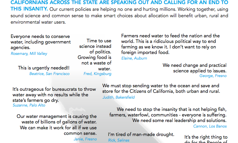 What the public is saying about State and federal policies that flush water to the ocean